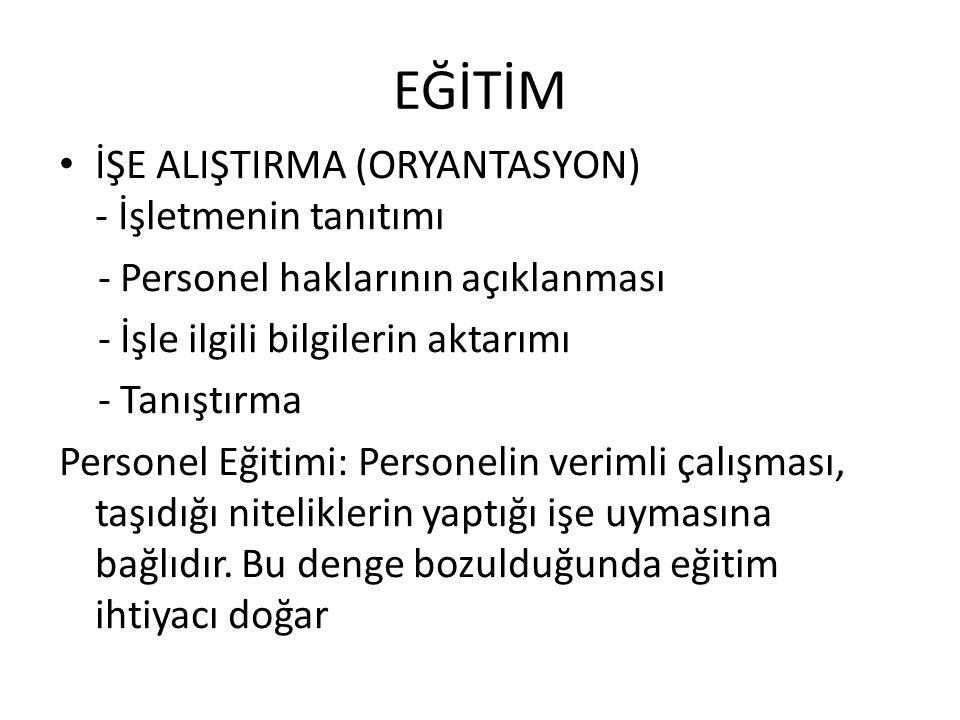 EĞİTİM İŞE ALIŞTIRMA (ORYANTASYON) - İşletmenin tanıtımı