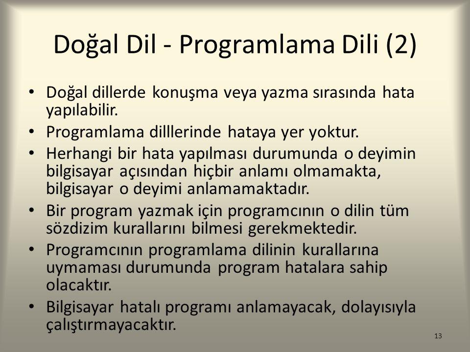 Doğal Dil - Programlama Dili (2)