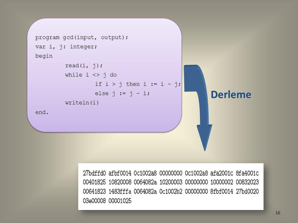 Derleme program gcd(input, output); var i, j: integer; begin