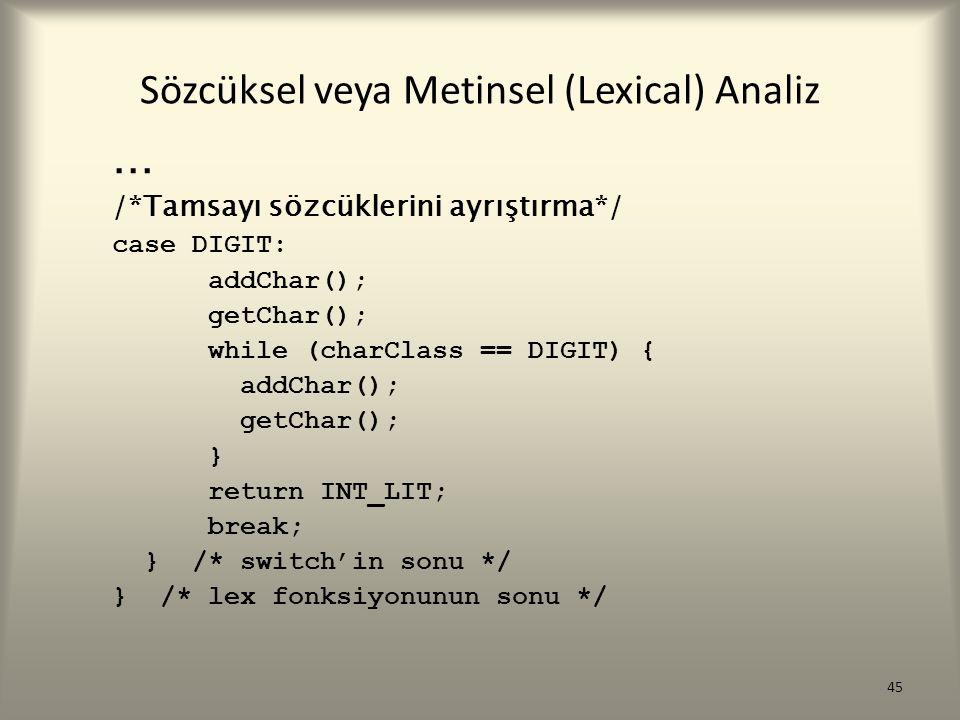 Sözcüksel veya Metinsel (Lexical) Analiz