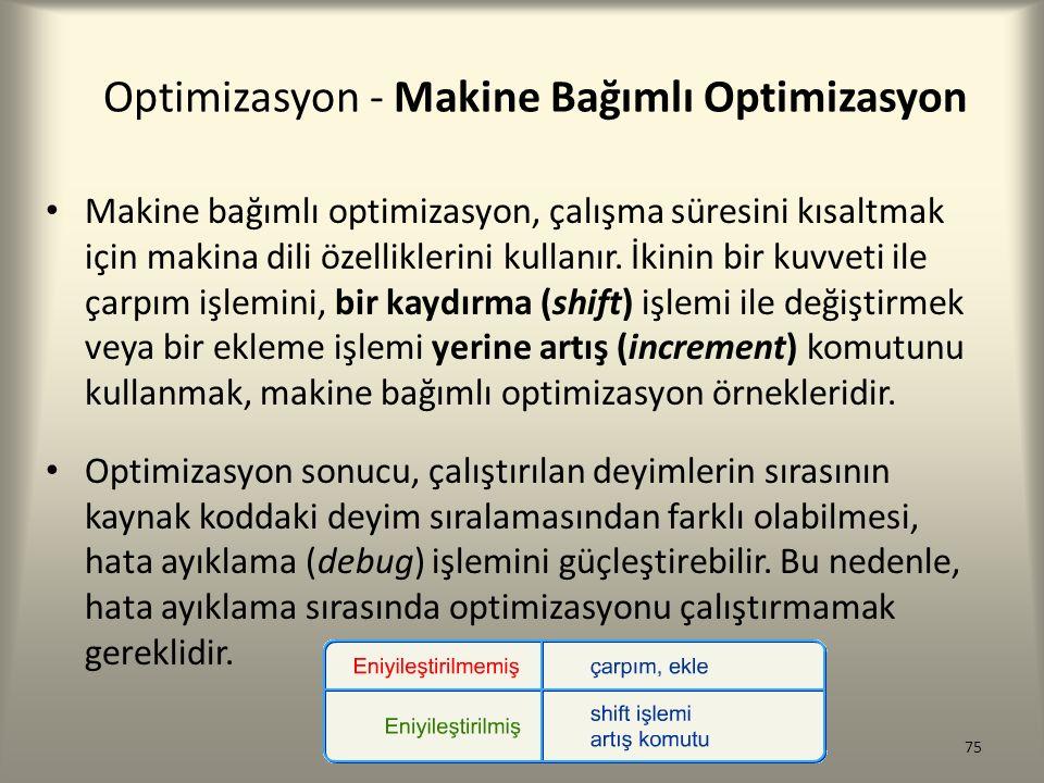 Optimizasyon - Makine Bağımlı Optimizasyon