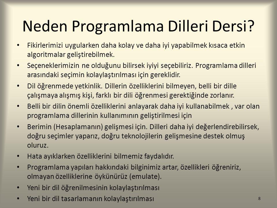 Neden Programlama Dilleri Dersi