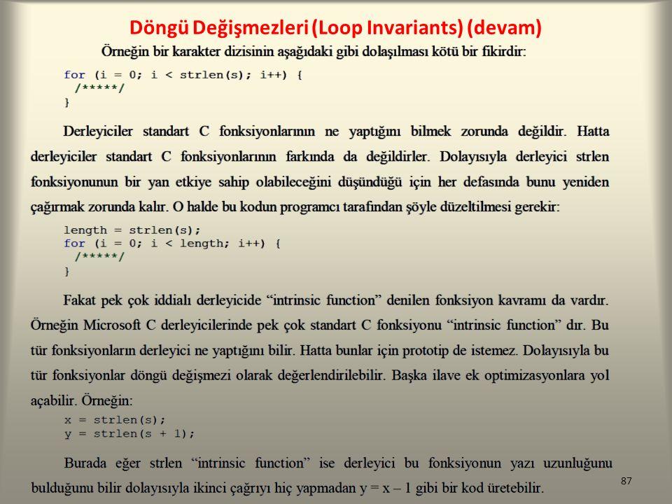 Döngü Değişmezleri (Loop Invariants) (devam)