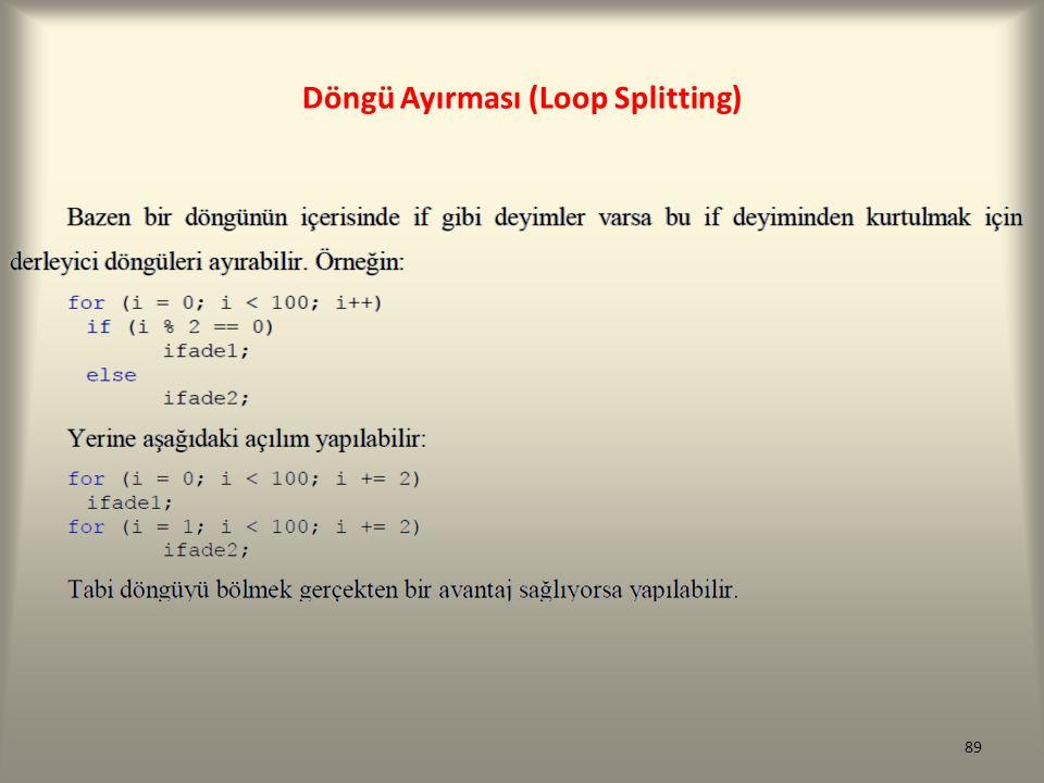 Döngü Ayırması (Loop Splitting)