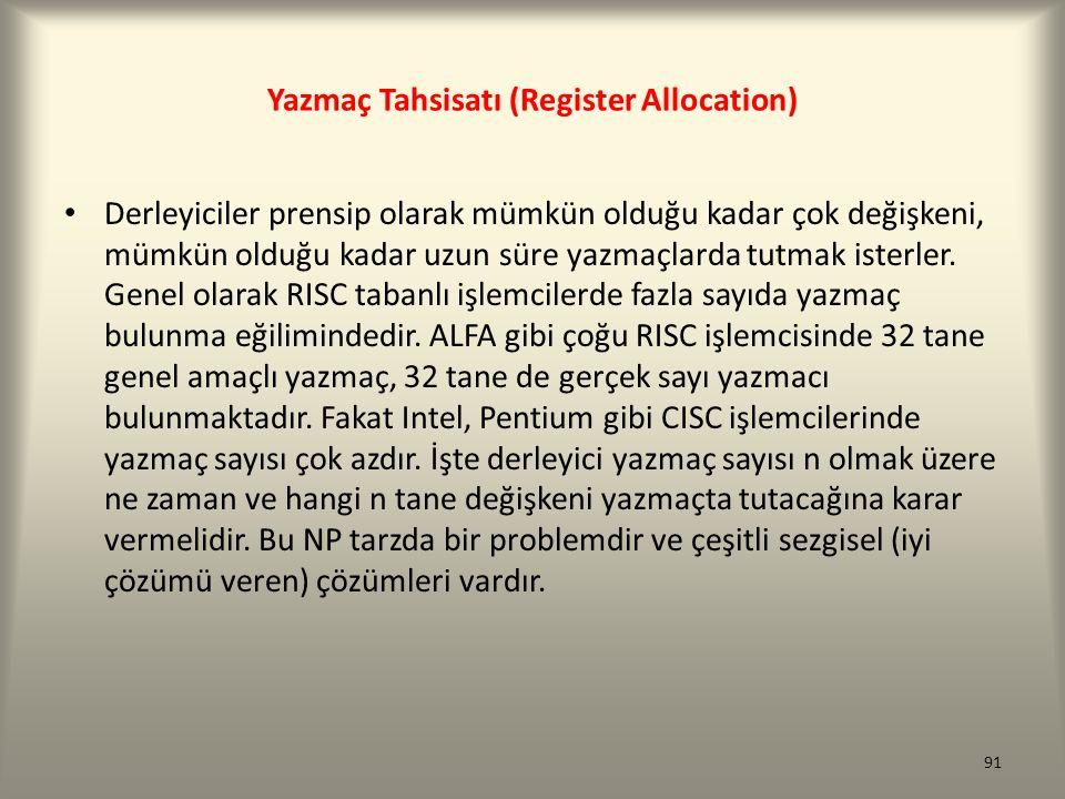 Yazmaç Tahsisatı (Register Allocation)