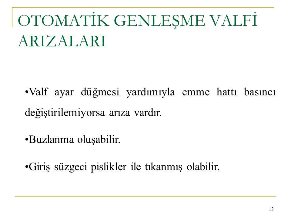 OTOMATİK GENLEŞME VALFİ ARIZALARI