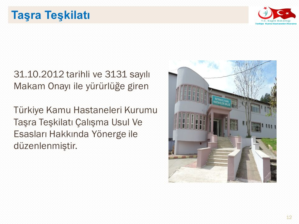 Taşra Teşkilatı 31.10.2012 tarihli ve 3131 sayılı Makam Onayı ile yürürlüğe giren.