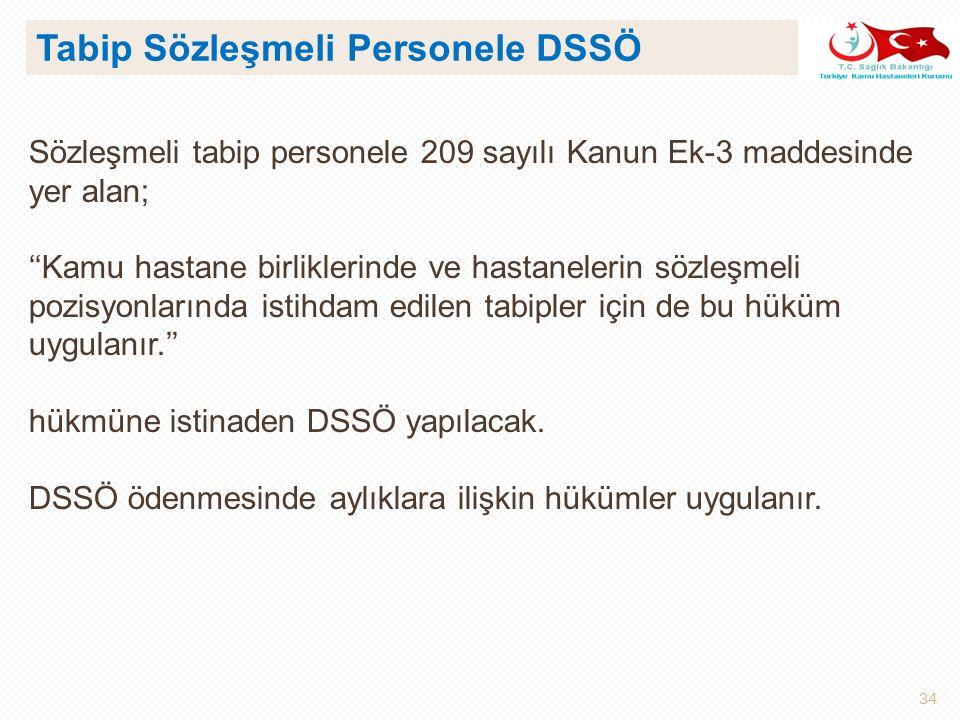 Tabip Sözleşmeli Personele DSSÖ