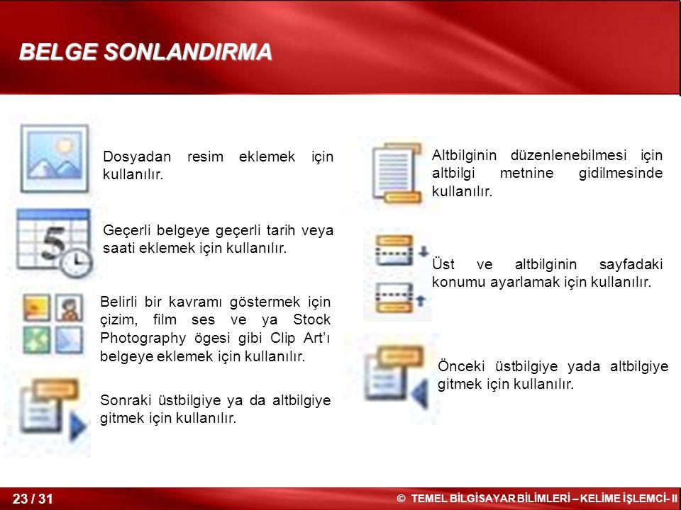 BELGE SONLANDIRMA Dosyadan resim eklemek için kullanılır.
