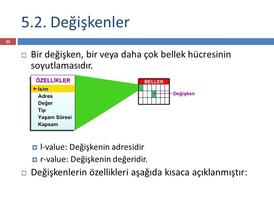 5.2. Değişkenler Bir değişken, bir veya daha çok bellek hücresinin soyutlamasıdır. l-value: Değişkenin adresidir.