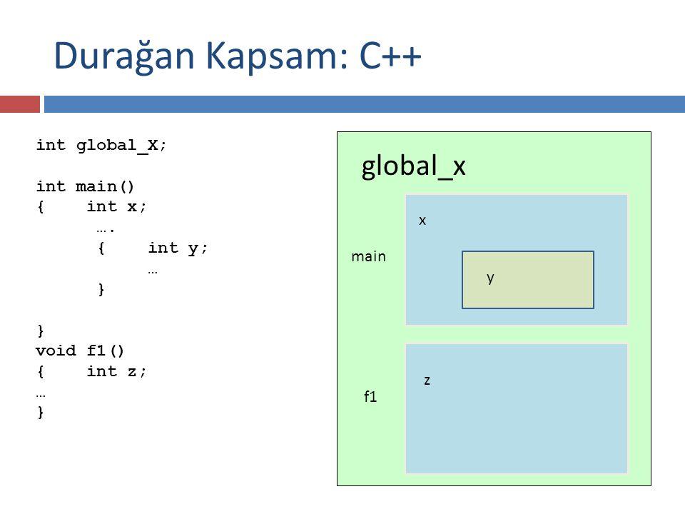 Durağan Kapsam: C++ global_x int global_X; int main() { int x; ….