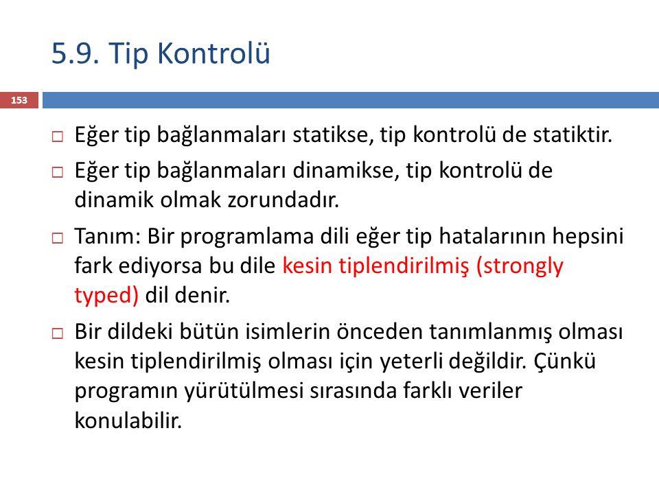 5.9. Tip Kontrolü Eğer tip bağlanmaları statikse, tip kontrolü de statiktir.