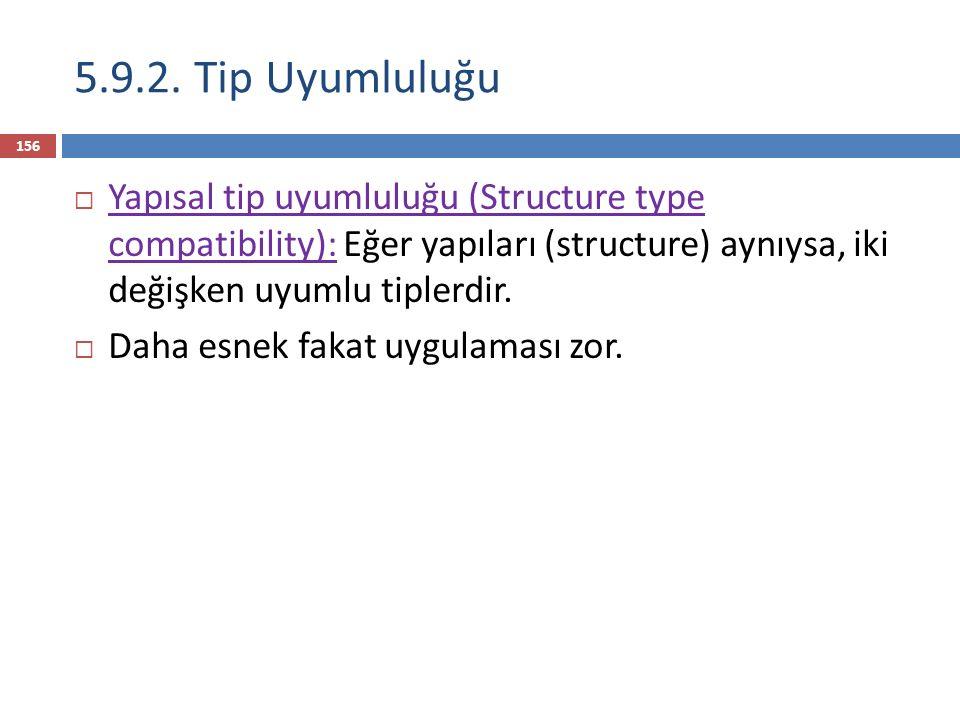 5.9.2. Tip Uyumluluğu Yapısal tip uyumluluğu (Structure type compatibility): Eğer yapıları (structure) aynıysa, iki değişken uyumlu tiplerdir.