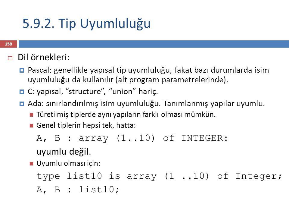 5.9.2. Tip Uyumluluğu Dil örnekleri: A, B : array (1..10) of INTEGER: