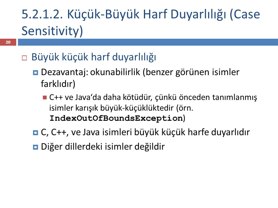 5.2.1.2. Küçük-Büyük Harf Duyarlılığı (Case Sensitivity)