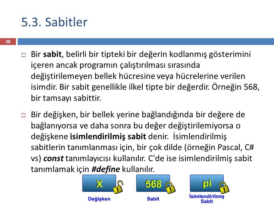 5.3. Sabitler