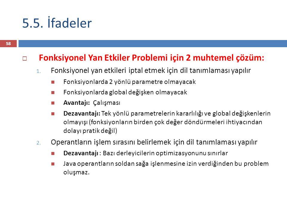 5.5. İfadeler Fonksiyonel Yan Etkiler Problemi için 2 muhtemel çözüm: