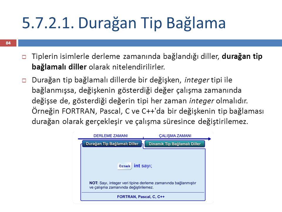 5.7.2.1. Durağan Tip Bağlama Tiplerin isimlerle derleme zamanında bağlandığı diller, durağan tip bağlamalı diller olarak nitelendirilirler.
