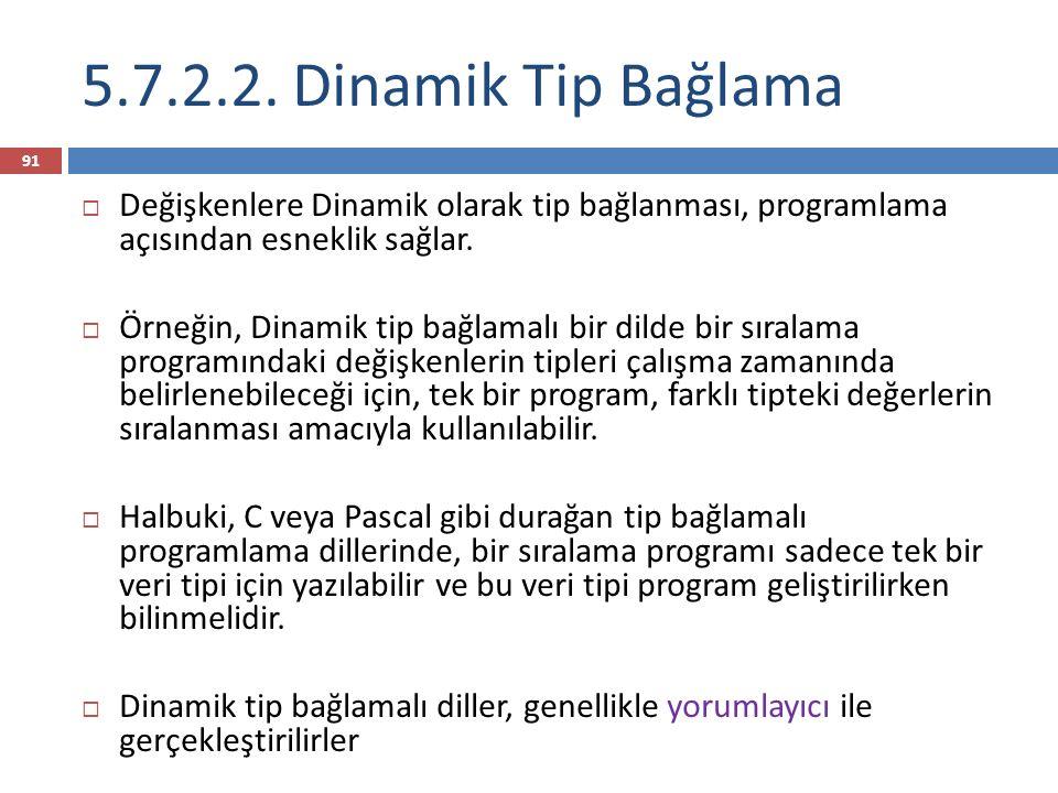 5.7.2.2. Dinamik Tip Bağlama Değişkenlere Dinamik olarak tip bağlanması, programlama açısından esneklik sağlar.