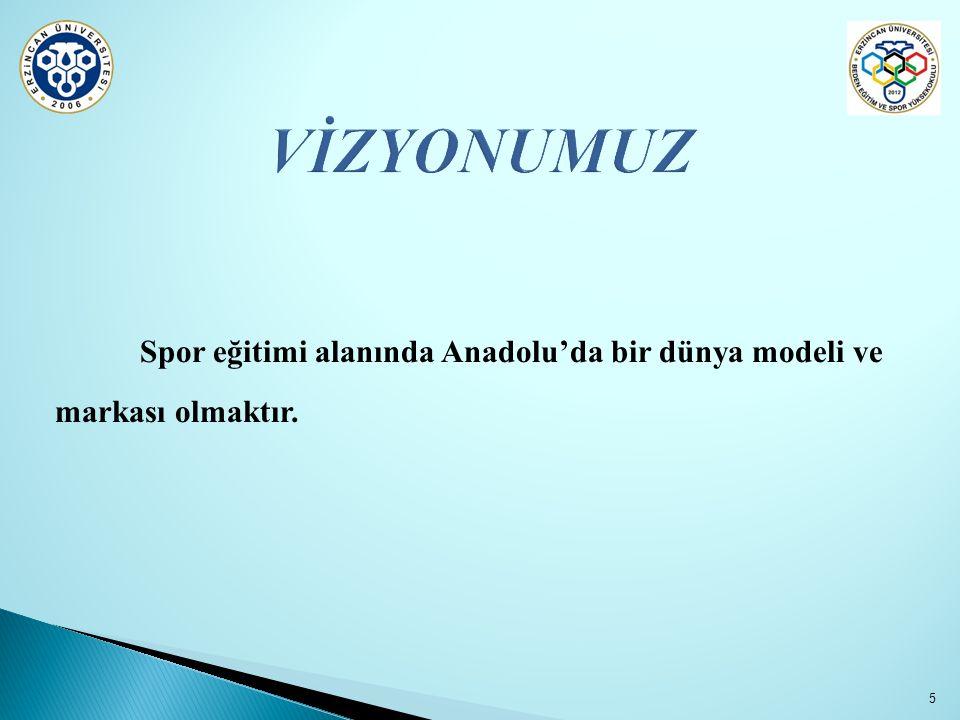 VİZYONUMUZ Spor eğitimi alanında Anadolu'da bir dünya modeli ve markası olmaktır.