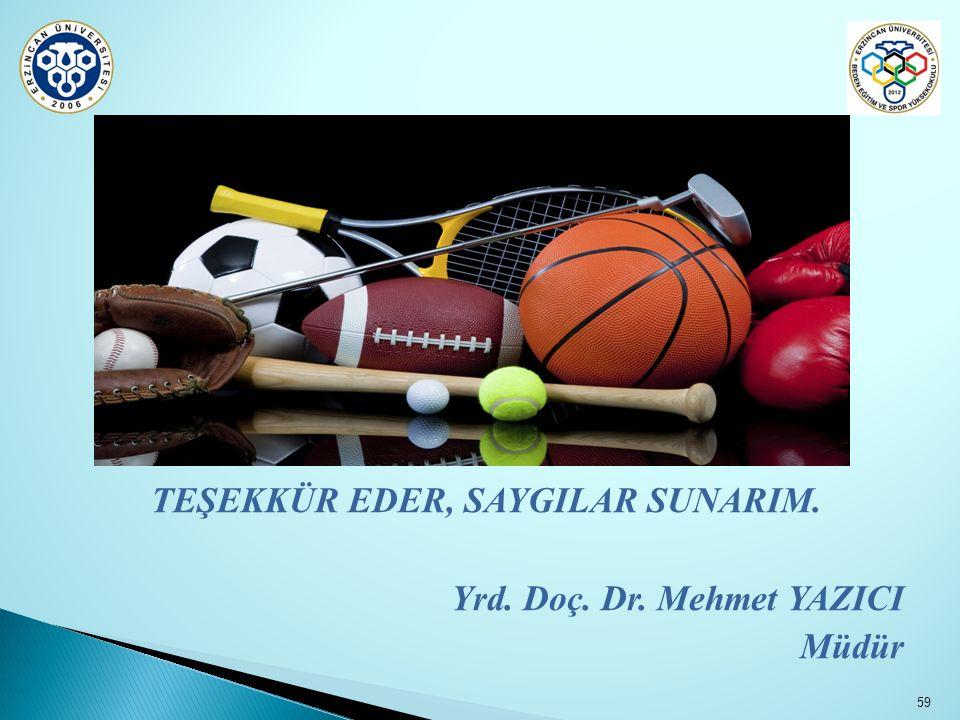 TEŞEKKÜR EDER, SAYGILAR SUNARIM. Yrd. Doç. Dr. Mehmet YAZICI Müdür