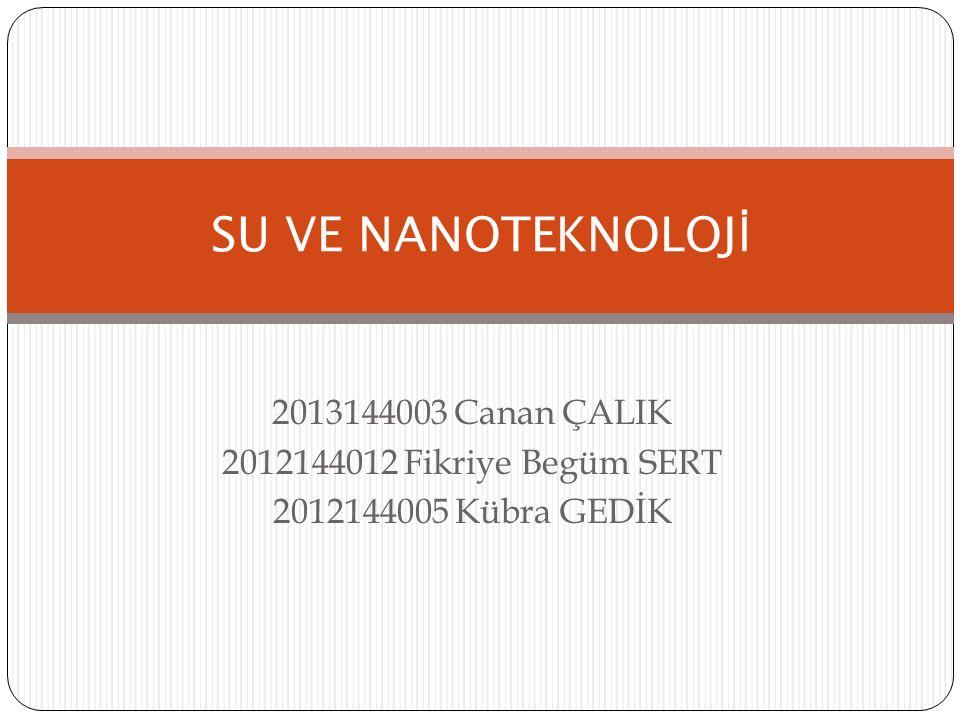 SU VE NANOTEKNOLOJİ 2013144003 Canan ÇALIK