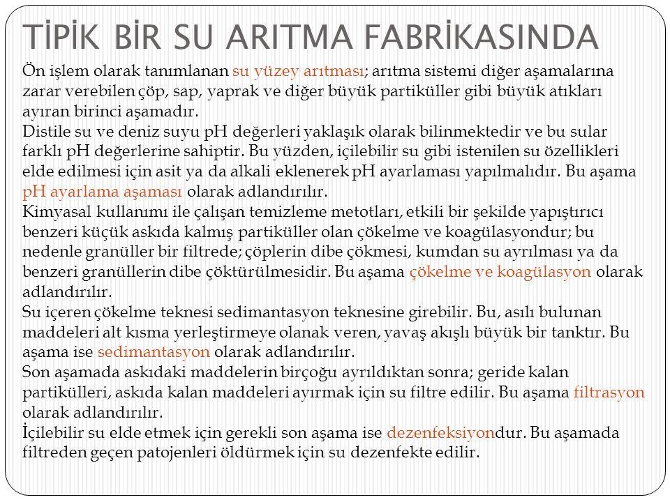 TİPİK BİR SU ARITMA FABRİKASINDA