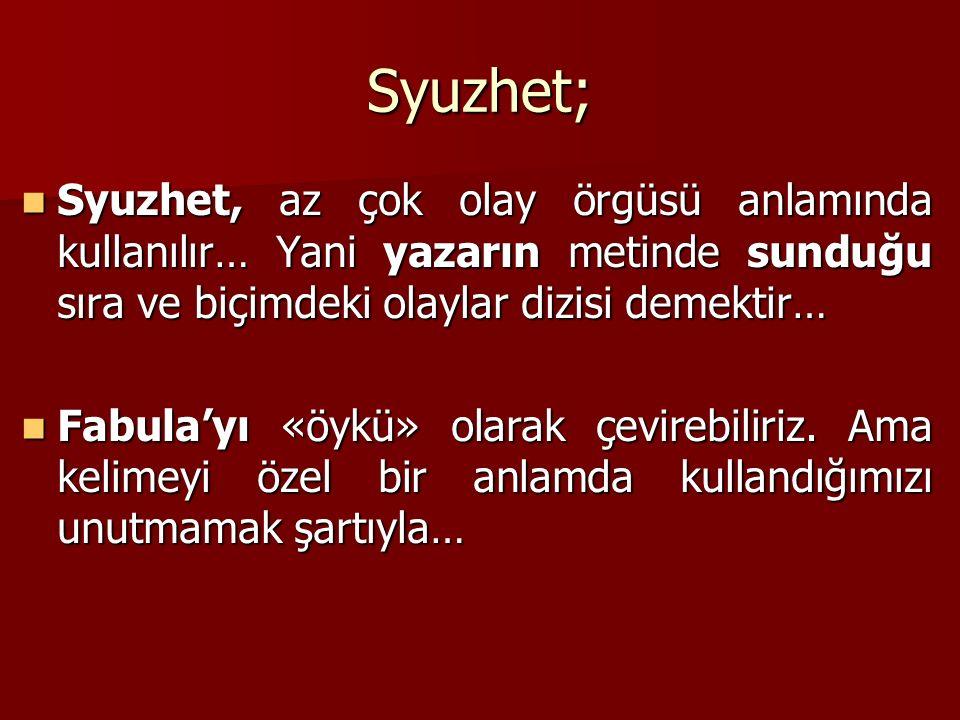 Syuzhet; Syuzhet, az çok olay örgüsü anlamında kullanılır… Yani yazarın metinde sunduğu sıra ve biçimdeki olaylar dizisi demektir…