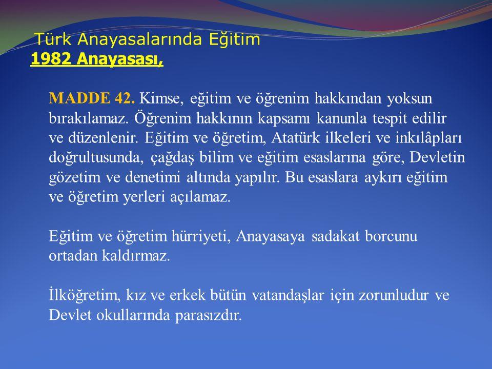 Türk Anayasalarında Eğitim