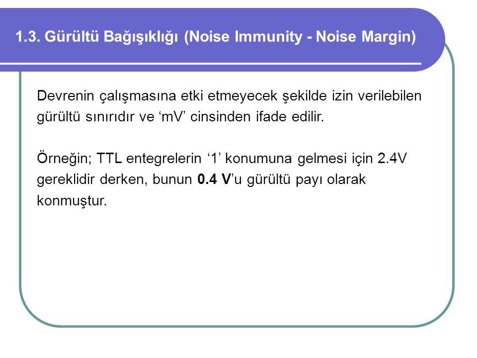 1.3. Gürültü Bağışıklığı (Noise Immunity - Noise Margin)