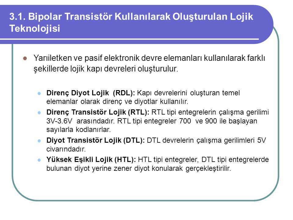 3.1. Bipolar Transistör Kullanılarak Oluşturulan Lojik Teknolojisi
