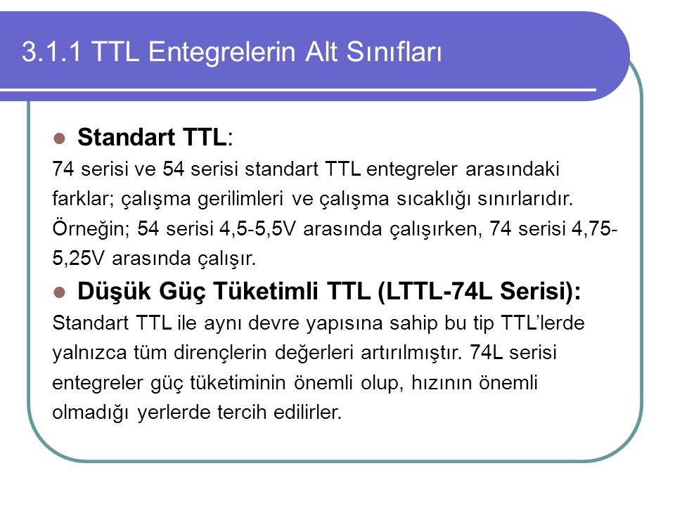 3.1.1 TTL Entegrelerin Alt Sınıfları