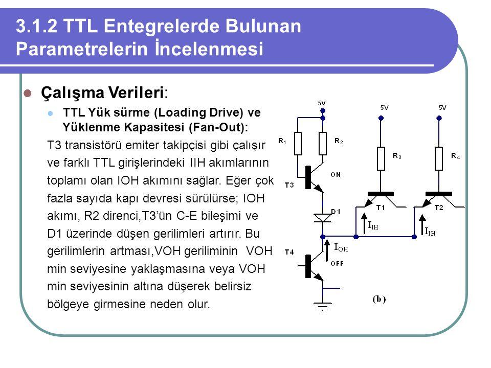 3.1.2 TTL Entegrelerde Bulunan Parametrelerin İncelenmesi