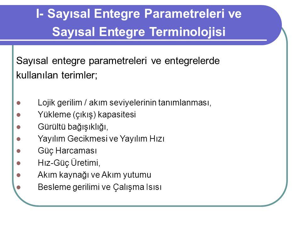 I- Sayısal Entegre Parametreleri ve Sayısal Entegre Terminolojisi