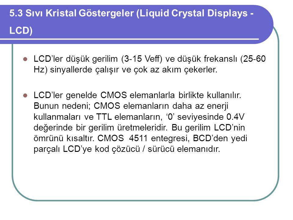 5.3 Sıvı Kristal Göstergeler (Liquid Crystal Displays - LCD)