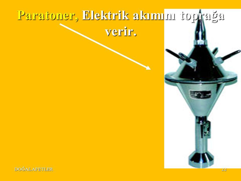 Paratoner, Elektrik akımını toprağa verir.