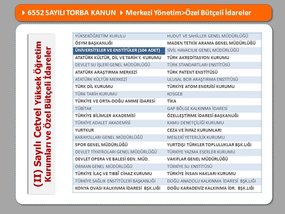 (II) Sayılı Cetvel Yüksek Öğretim Kurumları ve Özel Bütçeli İdareler