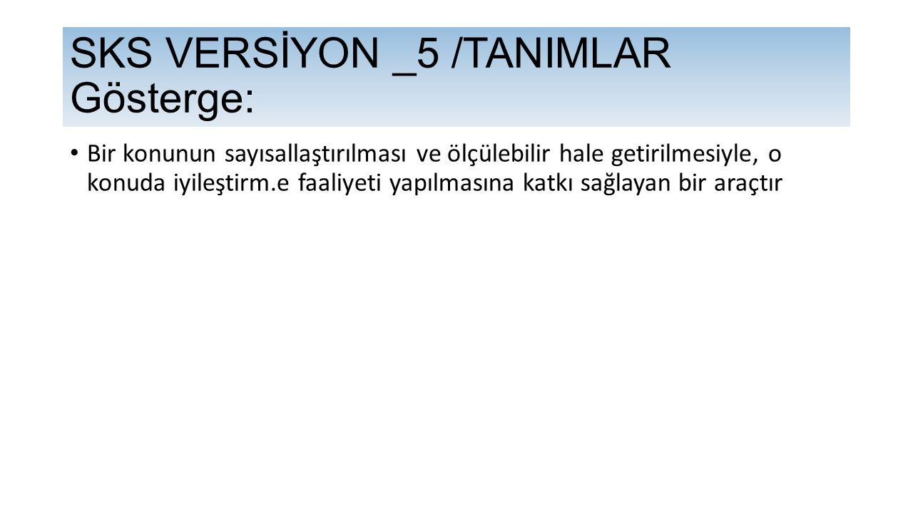 SKS VERSİYON _5 /TANIMLAR Gösterge: