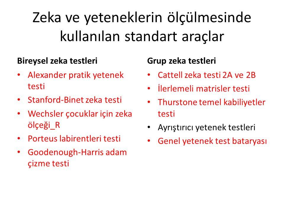 Zeka ve yeteneklerin ölçülmesinde kullanılan standart araçlar