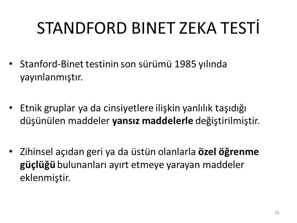 STANDFORD BINET ZEKA TESTİ