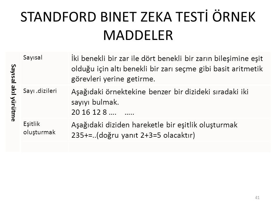 STANDFORD BINET ZEKA TESTİ ÖRNEK MADDELER