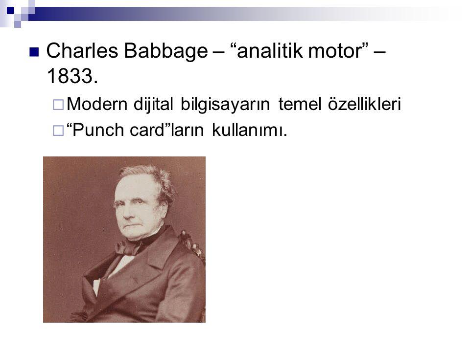 Charles Babbage – analitik motor – 1833.