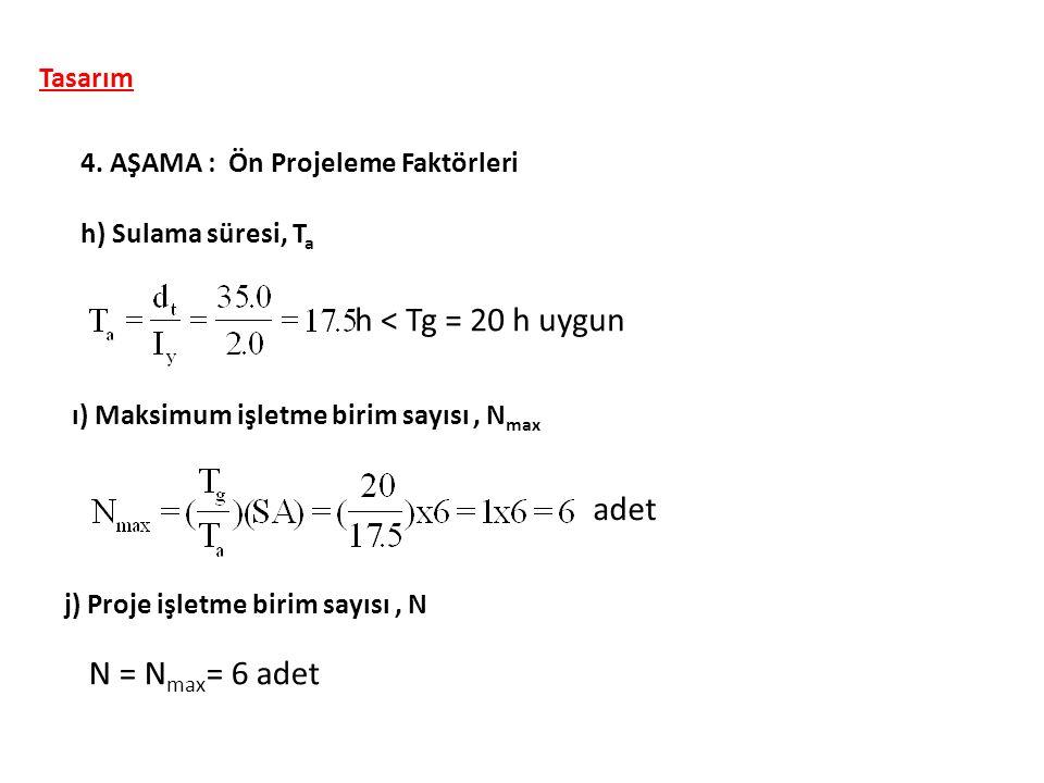 h < Tg = 20 h uygun adet N = Nmax= 6 adet Tasarım