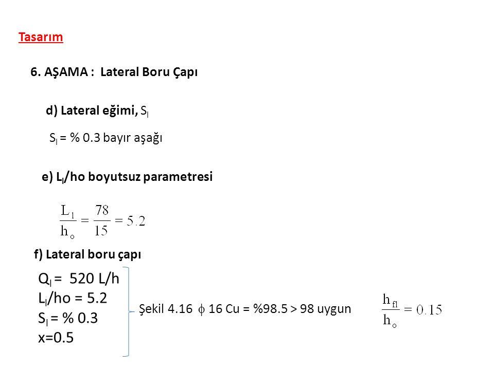 Ql = 520 L/h Ll/ho = 5.2 Sl = % 0.3 x=0.5 Tasarım