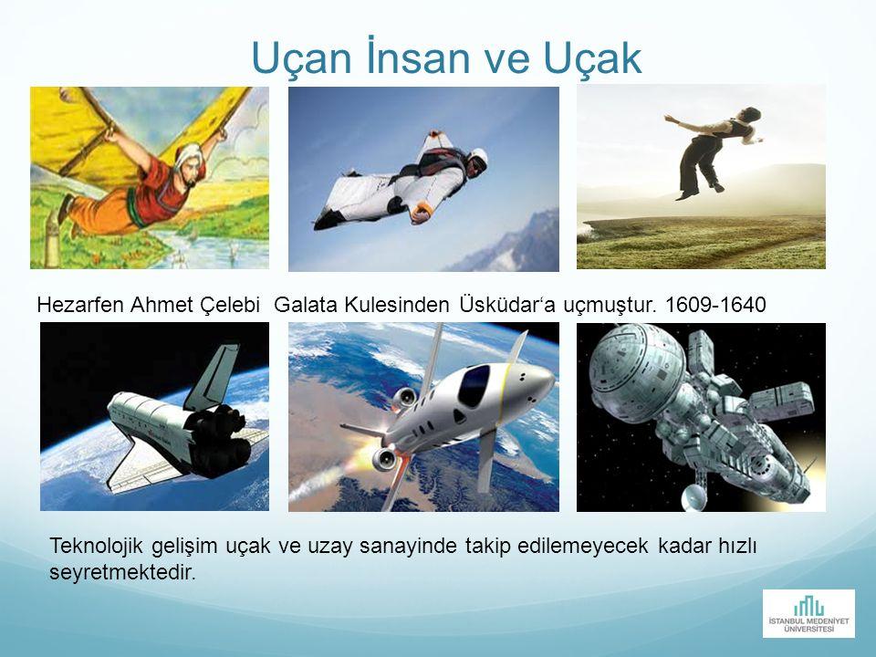 Uçan İnsan ve Uçak Hezarfen Ahmet Çelebi Galata Kulesinden Üsküdar'a uçmuştur. 1609-1640.