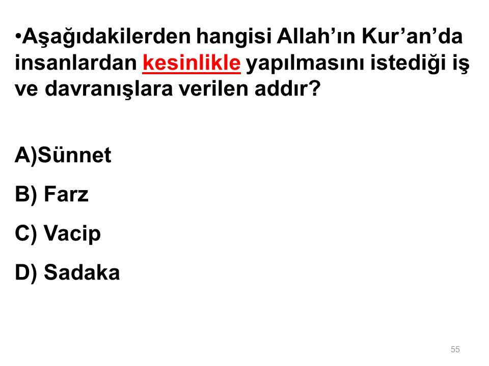 Aşağıdakilerden hangisi Allah'ın Kur'an'da insanlardan kesinlikle yapılmasını istediği iş ve davranışlara verilen addır