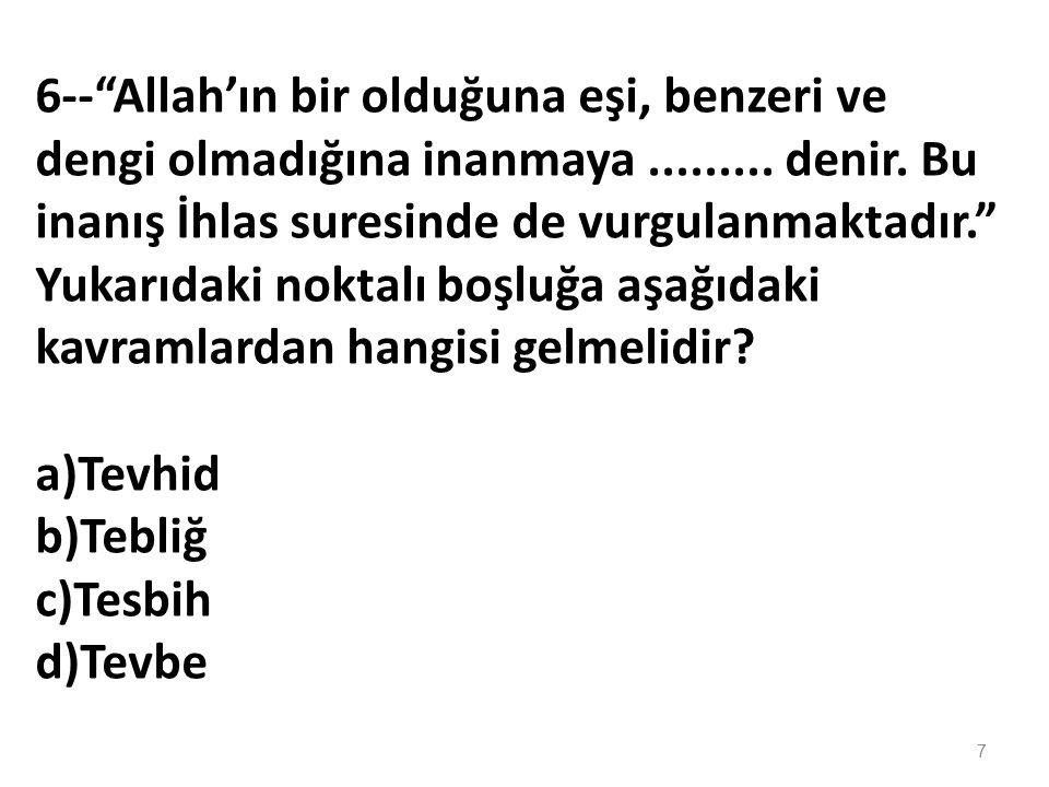 6-- Allah'ın bir olduğuna eşi, benzeri ve dengi olmadığına inanmaya