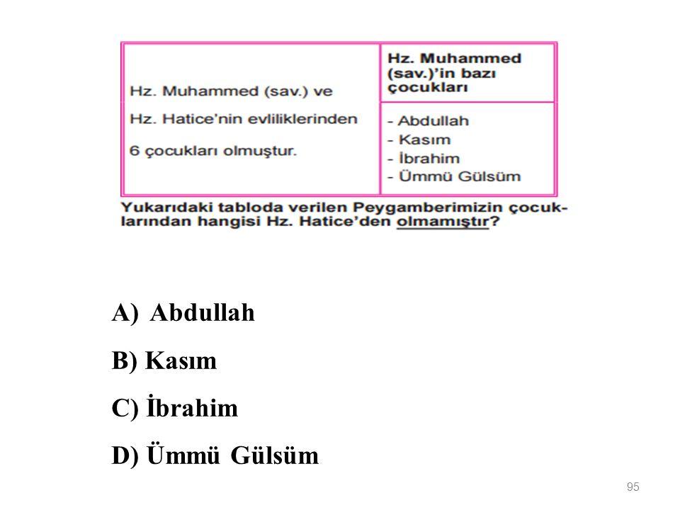 Abdullah B) Kasım C) İbrahim D) Ümmü Gülsüm