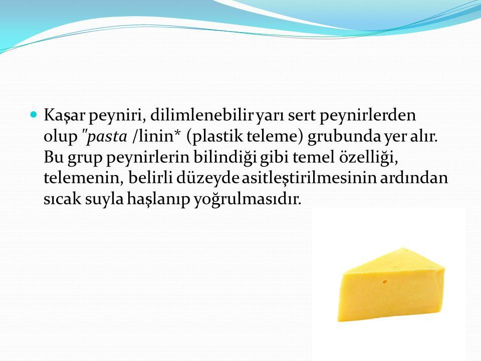 Kaşar peyniri, dilimlenebilir yarı sert peynirlerden olup pasta /linin* (plastik teleme) grubunda yer alır.