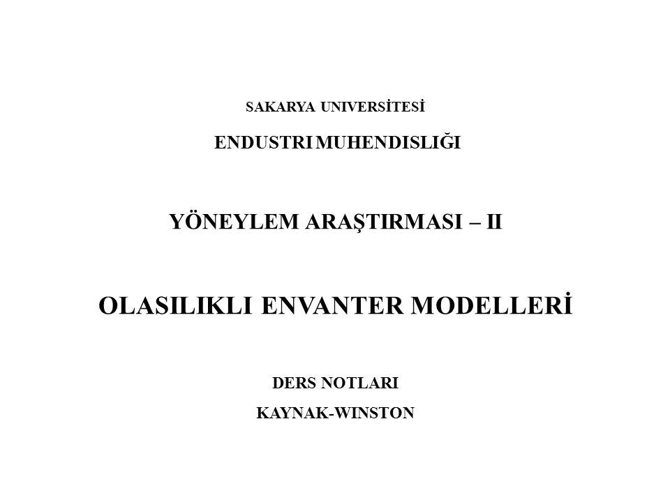 OLASILIKLI ENVANTER MODELLERİ